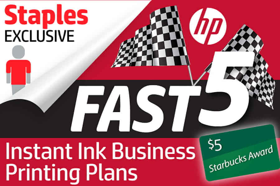 Staples Exclusive - HP Instant Ink Business Printing Plans Fast 5